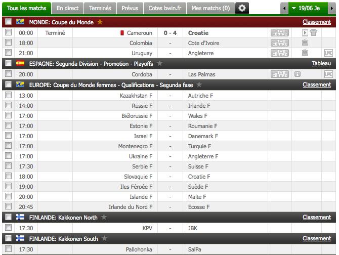 Le tableau de résultats et futurs match sur Resultat Flash