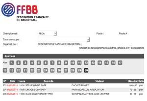 FFBB Resultat